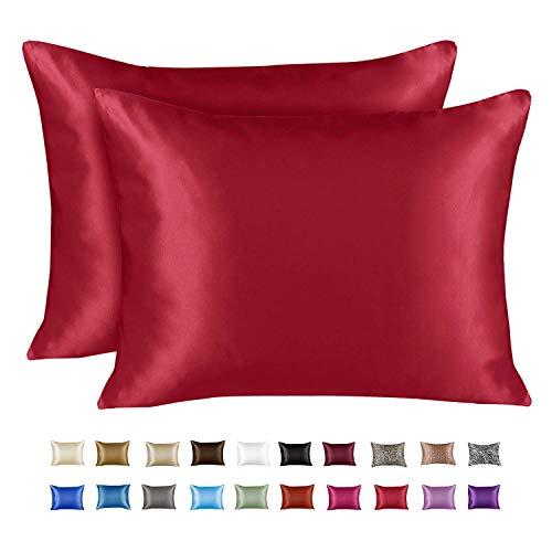 ShopBedding Luxury Satin Pillowcase for Hair – Standard Satin Pillowcase with Zipper, Red (Pillowcase Set of...