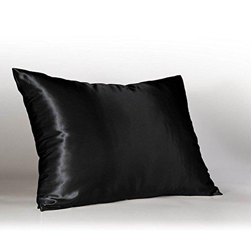 ShopBedding Luxury Satin Pillowcase for Hair – Euro Satin Pillowcase with Zipper, Black (1 per Pack) –...