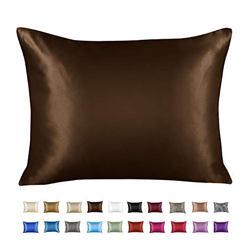 Luxury Bridal Satin Pillow Case with Concealed Matching Zipper Closing (Brown) 0015625286