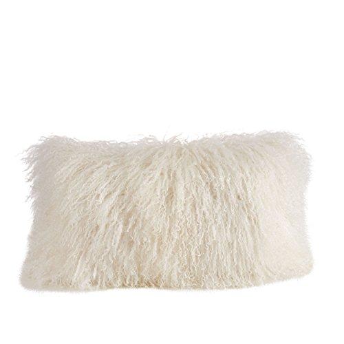 SARO LIFESTYLE 100% Wool Mongolian Lamb Fur Throw Pillow with Poly Filling, 12' x 20', Ivory