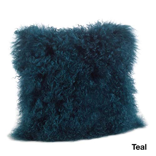 1 Piece Teal Blue Solid Pattern Mongolian Lamb Fur Throw Pillow 20-Inch, Beautiful Fluffy Touch Texture...