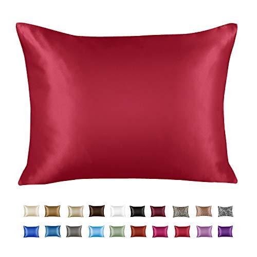 ShopBedding Luxury Satin Pillowcase for Hair – Euro Satin Pillowcase with Zipper, Red (1 per Pack) –...
