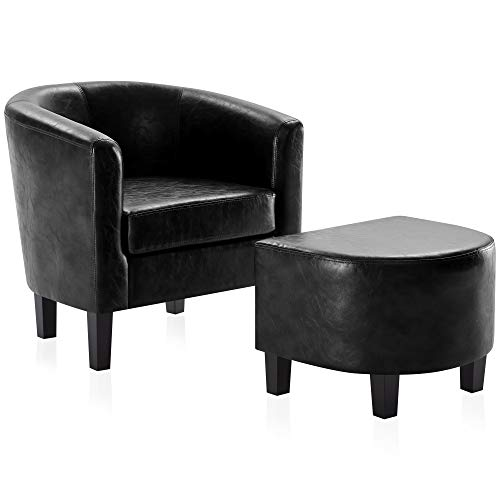 BELLEZE Accent Club Chair w/Ottoman Modern Stylish Round Arms Curved Back French Print Faux Leather, Black