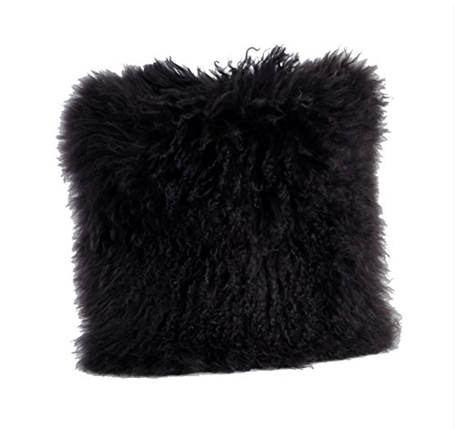Occasion Gallery Black Color Real Mongolian Lamb Fur Pillow, Filled. 12 Inch X 20 Inch Oblong