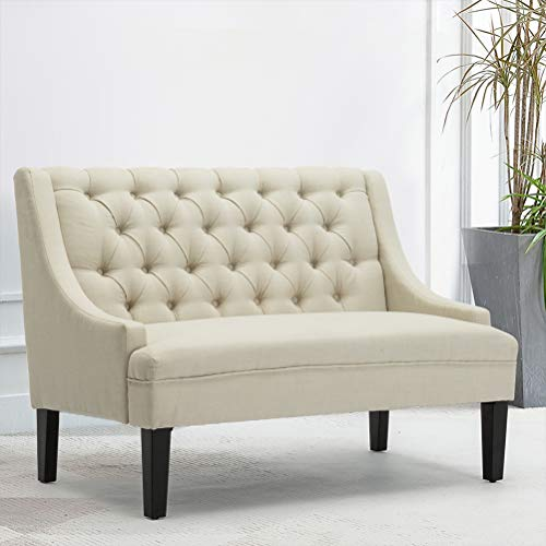 Modern Upholstered Loveseat Settee Bench Upholstered Dining Bench Button Tufted Banquette Sofa Living Room...