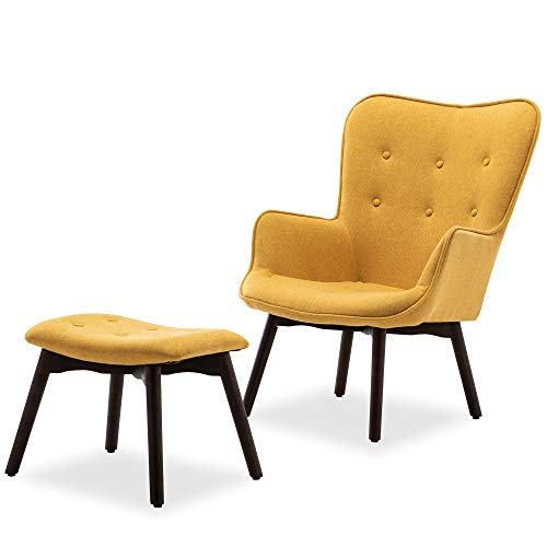 BELLEZE Mid-Century Modern Tufted Lounge Chair and Ottoman Upholstered Linen with Wood Legs, Yellow