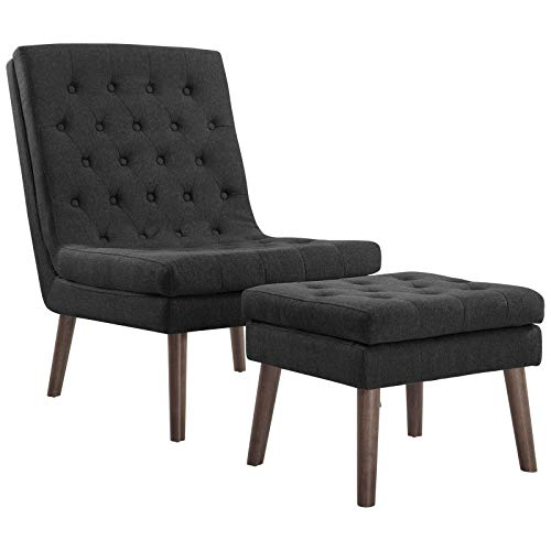 Modway Modify Tufted Modern Lounge Accent Chair and Ottoman Set in Gray