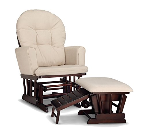 Graco Parker Semi-Upholstered Glider and Nursing Ottoman, Espresso/Beige Cleanable Upholstered Comfort Rocking...