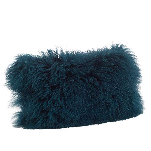 Occasion Gallery Teal Color Genuine Mongolian Real Lamb Fur Decorative Throw Pillow - Polyester Filled, 12' X...