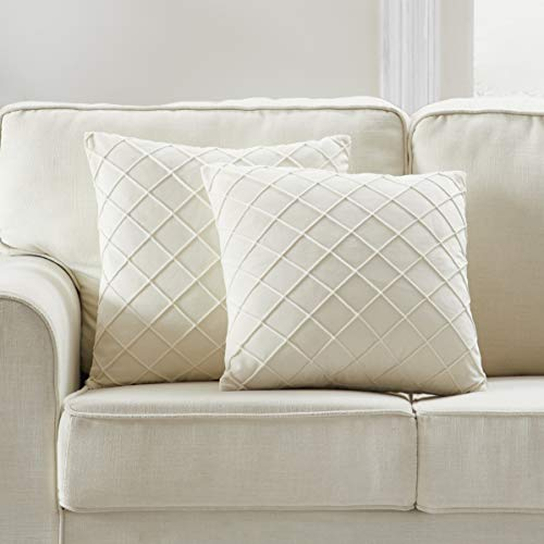 Longhui bedding Velvet Cream Throw Pillow Covers, 20 x 20 Inches Decorative Throw Pillows for Couch Sofa Bed,...