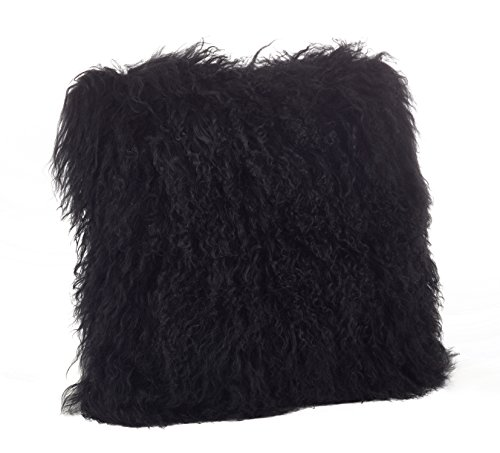 Fennco Styles Genuine Mongolian Lamb Fur Down Filled Decorative Throw Pillow, Many Colors (20-inch Square,...