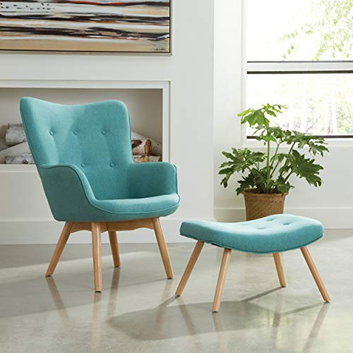 OFM 161 Collection Mid Century Modern Tufted Fabric Lounge Chair with Ottoman, Solid Honey Beechwood Legs, in...