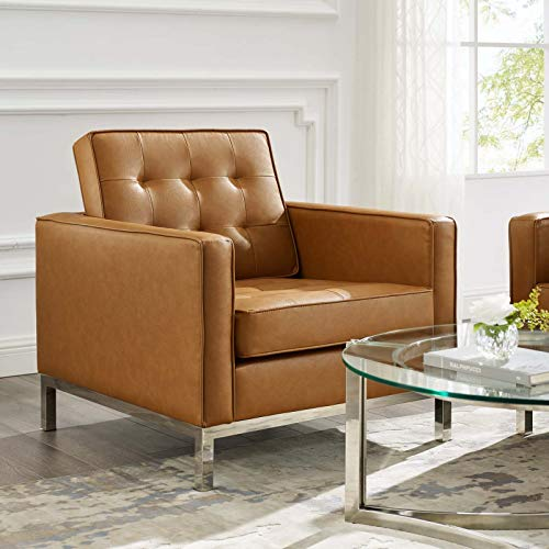 Modway Loft Tufted Button Faux Leather Upholstered Accent Armchair in Silver Tan