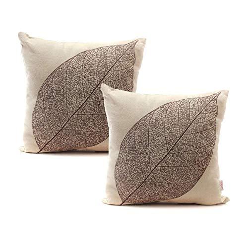 Luxbon Set of 2Pcs Rustic Farmhouse Leaves Decor Linen Throw Pillow Cases Sofa Couch Chair Decorative Cushion...