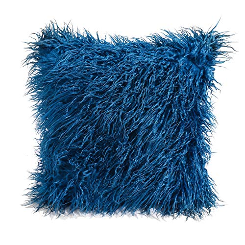 cool nik Soft Throw Pillow Cover Shaggy Fuzzy Fur Long Mangolian Faux Fur Cozy Elegant Chic Decorative Case 18...