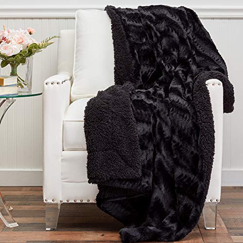 The Connecticut Home Company Soft Faux Fur with Sherpa Bed Throw Blanket, Many Colors, Fluffy Large Luxury...