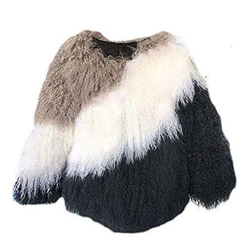 MINGCHUAN Women's Fur Coat, Mongolian Lamb Fur Jacket Long Sleeve Waistcoat Warm Outwear White