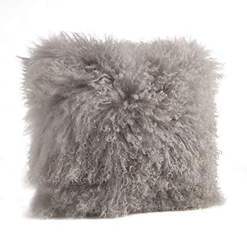 SARO LIFESTYLE 100% Wool Mongolian Lamb Fur Throw Pillow with Poly Filling, 16', Fog