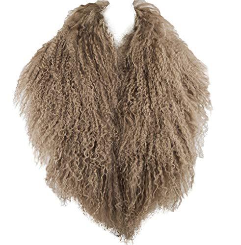 StylesILove Mongolian Lamb Fur Ultra Soft Collar Scarf - 4 Colors (Taupe)