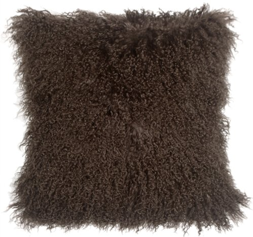 Genuine 100% Tibetan Mongolian Sheepskin Fur Throw Pillow Complete with Pillow Insert (Chocolate Brown, 18x18)