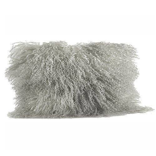 Occasion Gallery Fog Grey Color Real Mongolian Lamb Fur Pillow, Filled. 12 Inch X 20 Inch Oblong
