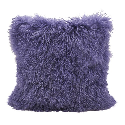 SARO LIFESTYLE 100% Wool Mongolian Lamb Fur Throw Pillow with Poly Filling, 20', Ultra Violet