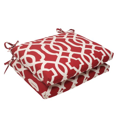 Pillow Perfect Outdoor/Indoor New Geo Square Corner Seat Cushions, 18.5 in. L X 16 in. W X 3 in. D, Red, 2...