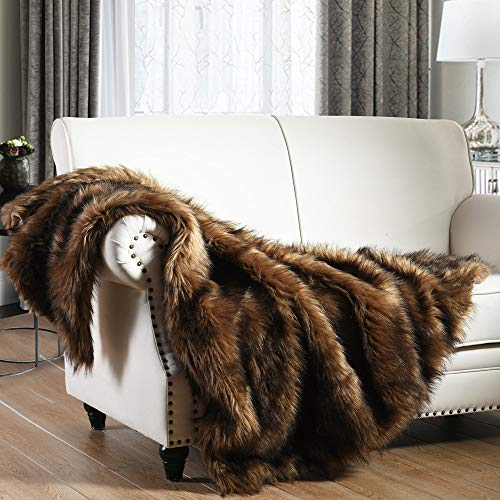 Luxury Plush Faux Fur Throw Blanket, Long Pile Brown with Black Tipped Blanket, Super Warm, Fuzzy, Elegant,...