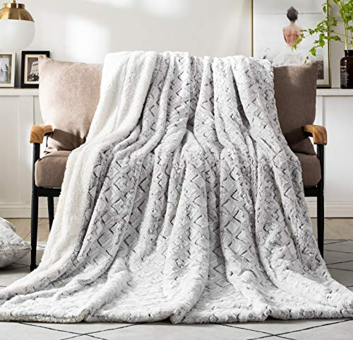 DaDa Bedding Luxury Throw Blanket - Dreamy Milky Way Cloud White - Purple Undertone Embossed Faux Fur Sherpa -...