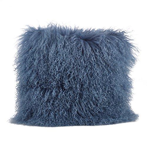SARO LIFESTYLE 100% Wool Mongolian Lamb Fur Throw Pillow with Poly Filling, 20', Blue-Grey