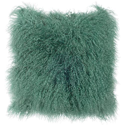 SLPR Mongolian Lamb Fur Throw Pillow Cover (16'' x 16'', Sea Breeze)   Real Sheep Fur Decorative Cushion Cover...
