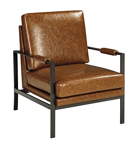 Signature Design by Ashley - Peacemaker Accent Chair - Faux Leather - Modern - Brown