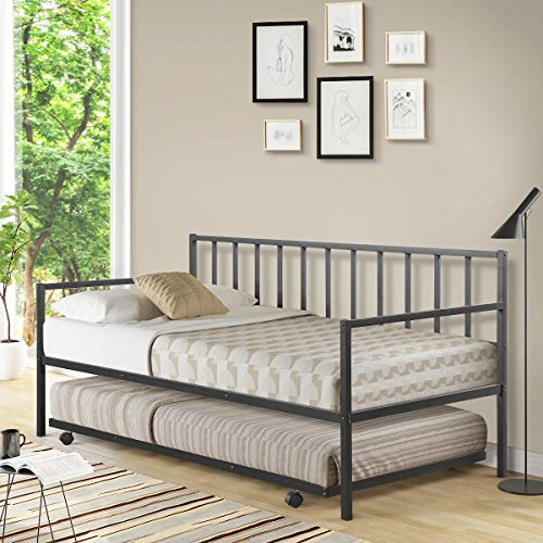 Giantex Twin Size Daybed and Trundle Frame Set, Trundle Bed with 4 Casters, Premium Metal Slat Support, Easy...