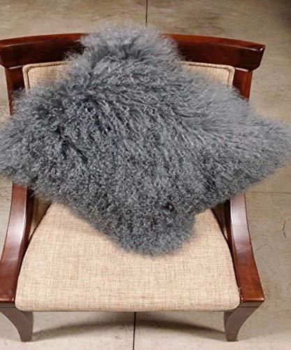 Seek4comfortable 100% Real Mongolian Lamb Sheepskin Wool Fur Throw Pillow Cover |Fur Decorative Cushion Cover...