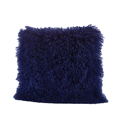 Occasion Gallery Cobalt Blue Color Real Mongolian Lamb Fur Pillow, Filled. 20 Inch Square