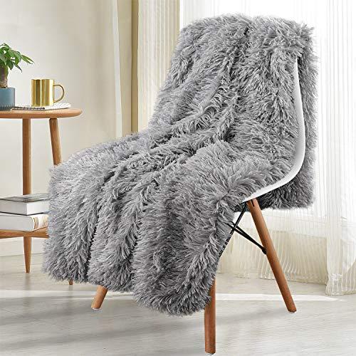 Noahas Shaggy Longfur Throw Blanket with Sherpa Warm Underside, Super Soft, Cozy Large Plush Fuzzy Faux Fur...