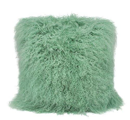 Fennco Styles Geniune Mongolian Lamb Fur Throw Pillow (Mint, 20'x20' Pillow)