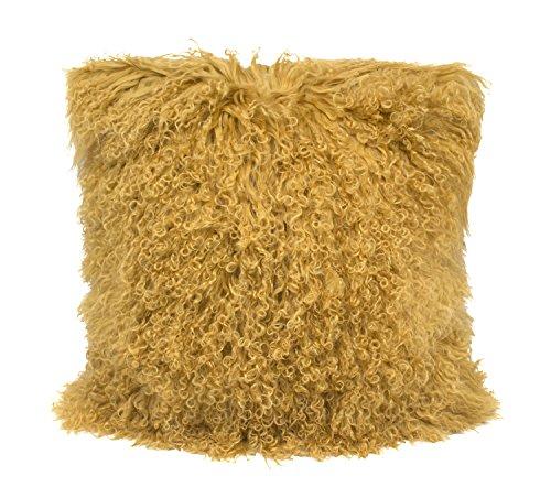 Fennco Styles Geniune Mongolian Lamb Fur Throw Pillow (Gold, 16'x16' Case Only)