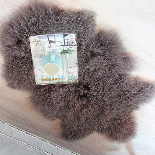 Genuine Mongolian Sheepskin Pelt Fur Area Rug, Real Tibetan Curly Fur Throw with Super Fluffy Thick Decorative...