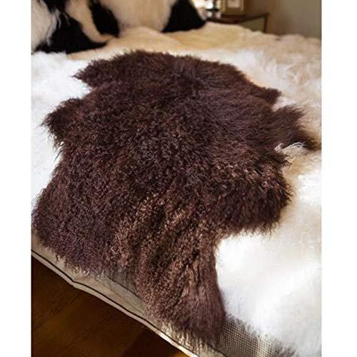 Genuine Tibetan Mongolian Sheepskin Fur Rug, Mongolian Lamb Wool Carpet Curly Fur Pelt Throw Rug Home...