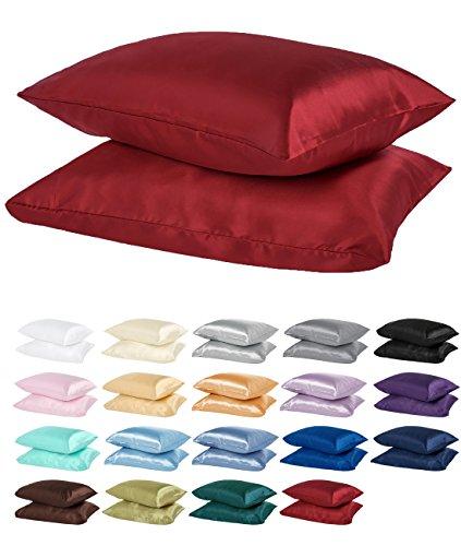 DreamHome Satin Pillow Case with Zipper, 2 Pillow Cases (Standard, Burgundy)