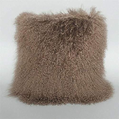 Seek4comfortable Real Mongolian Lamb Fur Pillow Case, 16X16 Inch Luxurious Sheep Skin Wool Cushion Cover Super...