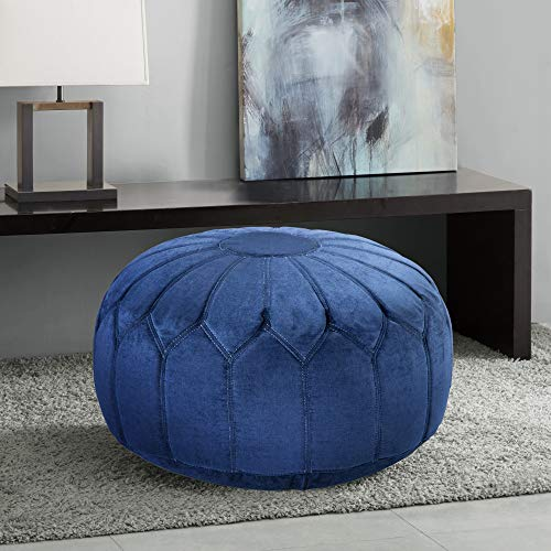 Madison Park Kelsey Round Floor Pillow Pouf Large-Soft Fabric, Polystyrene Beads Fill Ottoman Foot Stool-1...