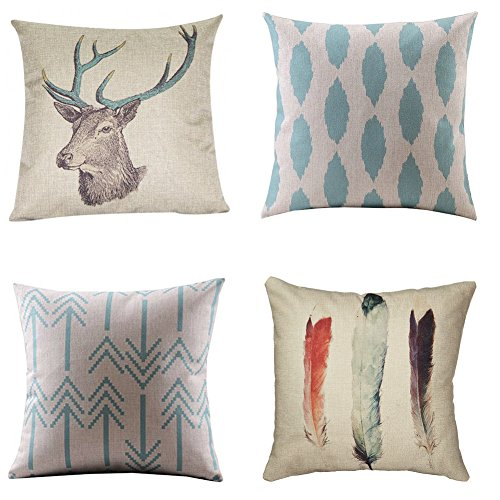 WUWE Cotton Linen Square Vintage Throw Pillow Case Shell Decorative Cushion Cover Pillowcase (pack of four)