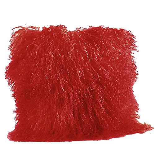 Occasion Gallery Red Color Real Mongolian Lamb Fur Pillow, Filled. 20 Inch Square