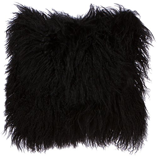 SLPR Mongolian Lamb Fur Throw Pillow Cover (20'' x 20'', Black) | Real Sheep Fur Decorative Cushion Cover Case