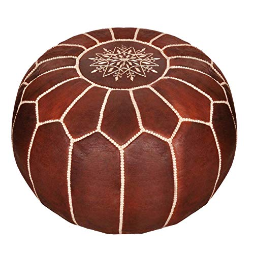 Moroccan Leather Pouf - Handmade Leather Pouffe - Luxury Pouf - Ottoman Footstool Hassock - 100% Real Natural...