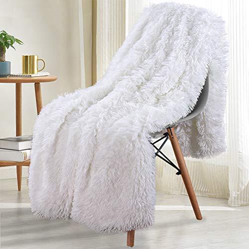 Noahas Shaggy Longfur Throw Blanket with Sherpa Warm Underside, Super Soft Cozy Large Plush Fuzzy Faux Fur...