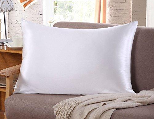 Sunflower Silk Pillow Case for Hair & Facial Skin to Prevent Wrinkles Hidden Zipper Standard/Queen Size White...