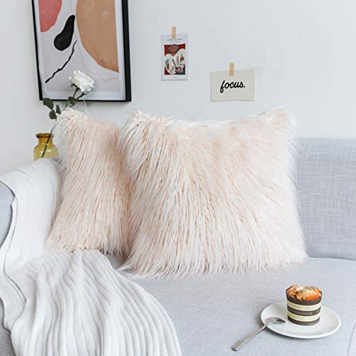 Kevin Textile Set of 2,Luxury Soft Plush Faux Fur Throw Cushion Cover for Couch Ins Decorative Mongolian Fur...